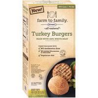 Farm to Family™ All Natural* Turkey Burgers 48 oz. Box