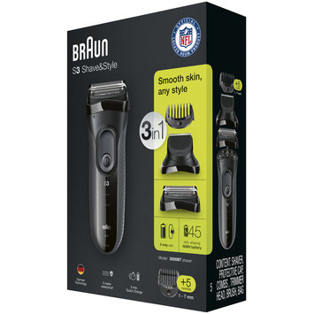 3Series Braun Series 3 Shave&Style 3000BT 3-in-1 Shaver with precision trimmer & 5 comb attachments