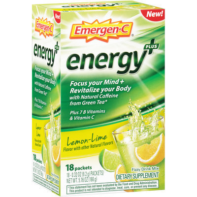 Emergen-C Energy+ Dietary Supplement, 0.32 Ounce Packets (Lemon-Lime Flavor, 18 Count)