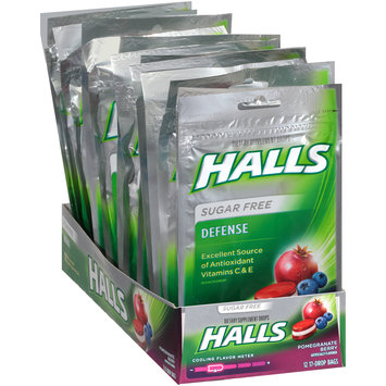 Halls Defense Pomegranate Berry Sugar Free Antioxidant Vitamins C & E Dietary Supplement Drops 12-17 ct Bags