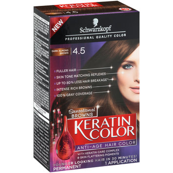 Schwarzkopf Keratin Color Sensational Browns Anti-Age Hair Color 4.5 Dark Almond Brown 6 pc Kit