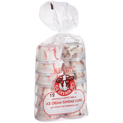 Kemps® Ice Cream Jr.'s Vanilla Ice Cream Sundae Cups with Chocolate and Strawberry Sauce 12-3 fl. oz. Cups