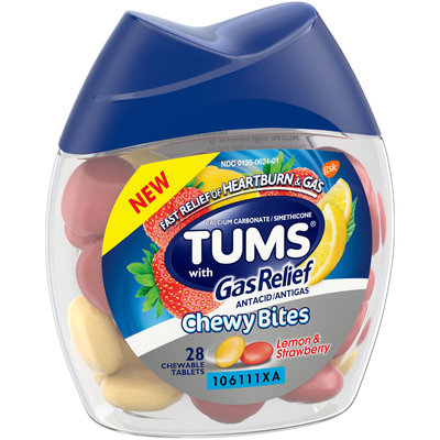 Tum® Chewy Bites Lemon & Strawberry with Gas Relief Antacid/Antigas Chewable Tablets 28 ct Bottle