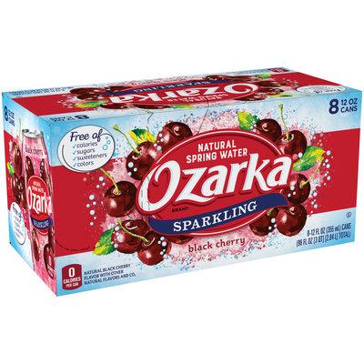 OZARKA Black Cherry Sparkling Natural Spring Water 12oz cans (Pack of 8)
