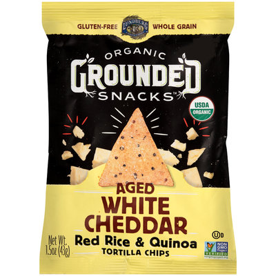 Lundberg® Organic Grounded Snacks™ Aged White Cheddar Red Rice & Quinoa Tortilla Chips 1.5 oz. Bag