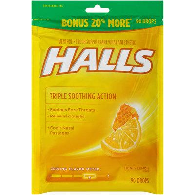Halls Honey Lemon Cough Suppressant/Oral Anesthetic Menthol Drops 96 ct Bag