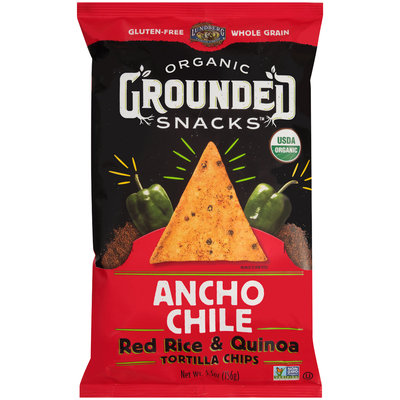 Lundberg® Organic Grounded Snacks™ Ancho Chile Red Rice & Quinoa Tortilla Chips 5.5 oz. Bag