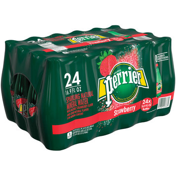 PERRIER Sparkling Natural Mineral Water, Strawberry 16.9-ounce plastic bottles (Pack of 24)