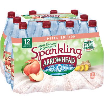 ARROWHEAD Brand Sparkling Mountain Spring Water, White Ginger Peach 33.8-ounce plastic bottles