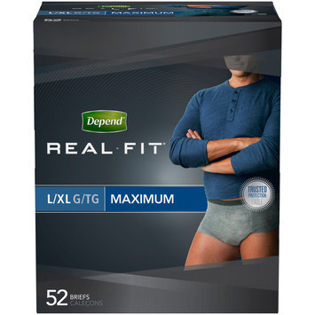 Depend Real Fit Black Maximum Absorbency L/XL Incontinence Briefs for Men 52 ct Pack