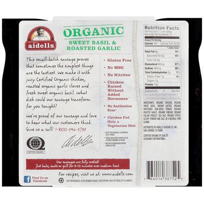 Aidells® Organic Sweet Basil & Roasted Garlic Smoked Chicken Sausage 12 oz. Pack
