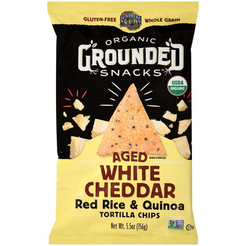 Lundberg® Organic Grounded Snacks™ Aged White Cheddar Red Rice & Quinoa Tortilla Chips 5.5 oz Bag