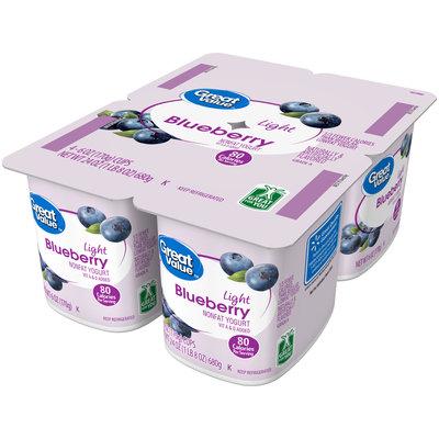 Great Value™ Blueberry Light Nonfat Yogurt 4-6 oz. Cups