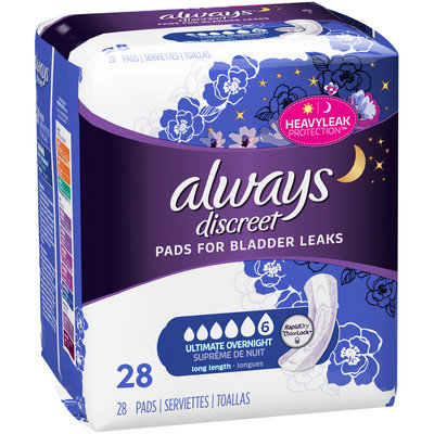 Always Discreet Ultimate Overnight Long Length Pads 28 ct Pack