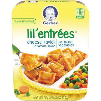 Gerber® Lil' Entrees® Cheese Ravioli in Tomato Sauce with Mixed Vegetables 6.6 oz. Tray (Pack of 8)