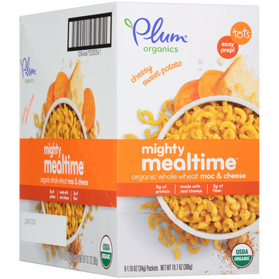 Plum Organics® Cheesy Sweet Potato Mighty Mealtime™ Organic Whole Wheat Mac & Cheese 9-1.19 oz. Pouches