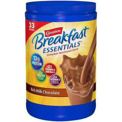 Carnation Breakfast Essentials Rich Milk Chocolate Nutritional Drink Mix Canister