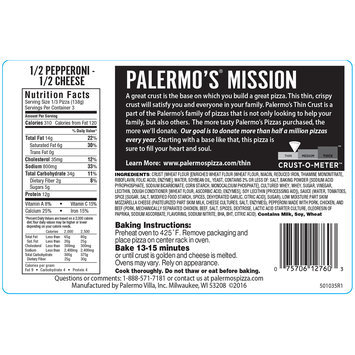 Palermo's® 1/2 Pepperoni & 1/2 Cheese Thin Crust Pizza 14.6 oz. Package