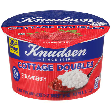 Knudsen Cottage Doubles Cottage Cheese & Strawberry Topping 4.7 oz. Tub