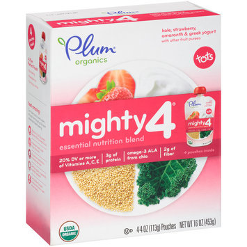 Plum Organics® Mighty 4® Kale, Strawberry, Amaranth & Greek Yogurt Essential Nutrient Blend 4-4 oz. Pouches