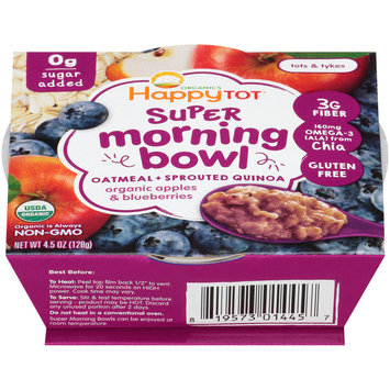 Happy Tot® Organic Apples & Blueberries Oatmeal & Sprouted Quinoa Super Morning Bowl 4.5 oz. Sleeve