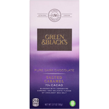 Green & Black's Salted Caramel 70% Cacao Pure Dark Chocolate 3.17 oz. Bars