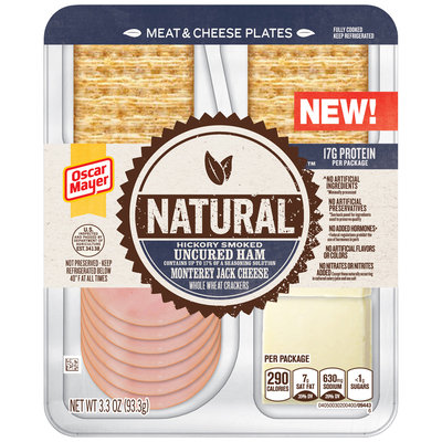 Oscar Mayer Natural Hickory Smoked Uncured Ham & Monterey Jack Meat & Cheese Plates 3.3 oz. Tray