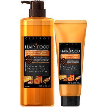 Clairol Hair Food Infused with Honey Apricot Fragrance Moisture Shampoo & Moisture Hair Mask Set 2 pc Pack
