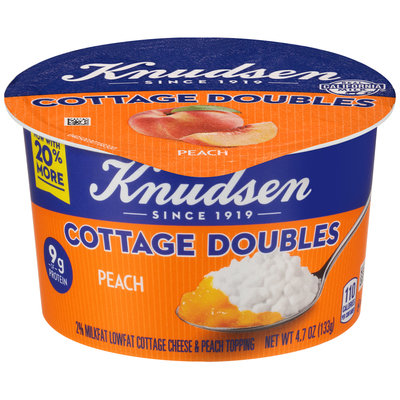 Knudsen Cottage Doubles Cottage Cheese & Peach Topping 4.7 oz. Tub