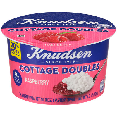 Knudsen Cottage Doubles Cottage Cheese & Raspberry Topping 4.7 oz. Tub