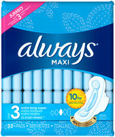 Always® Maxi Size 3 Extra Long Super Pads with Flexi-Wings™ 33 ct Pack