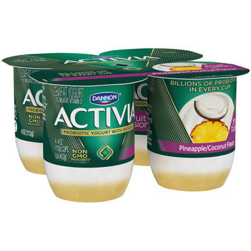 Dannon® Activia® Fruit Fusion Probiotic Lowfat Yogurt Pineapple & Coconut 4oz 4 pack