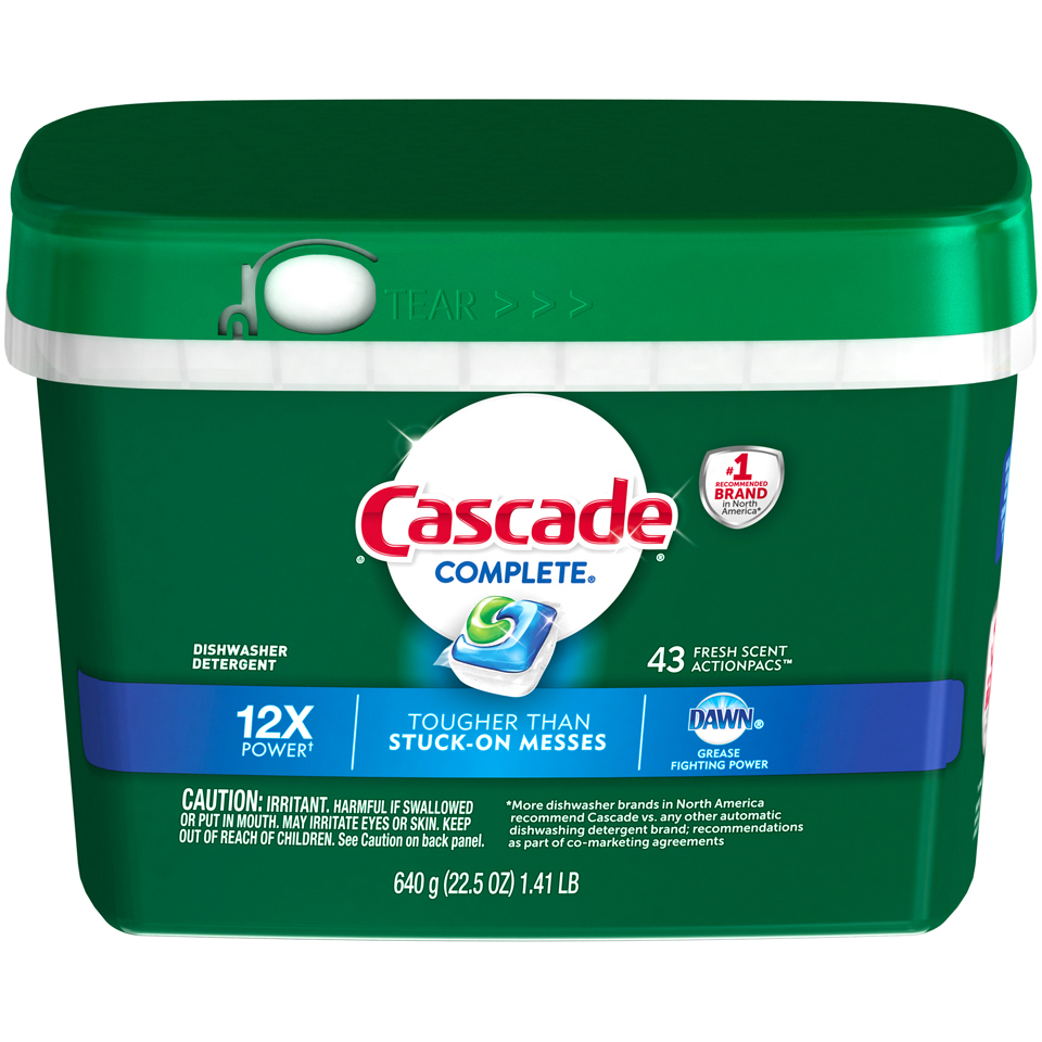 Cascade® Complete® Dawn® Fresh Scent Action Pacs™ Dishwasher Detergent 43 ct Plastic Container
