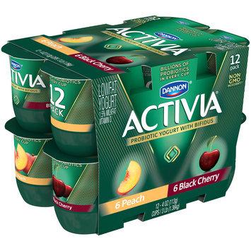 Dannon® Activia® Probiotic Blended Lowfat Yogurt Peach & Black Cherry 4oz 12 pack