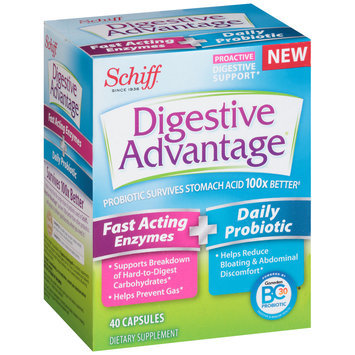 Schiff® Digestive Advantage® Fast Acting Enzymes + Daily Probiotic Dietary Supplement Capsules 40 ct Box