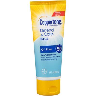 Coppertone Defend & Care Oil Free Sunscreen Face Lotion Broad Spectrum SPF 50, 3 Fluid Ounces