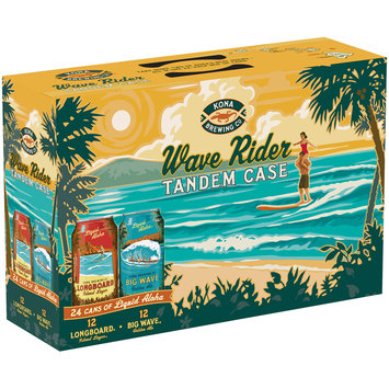 Kona Brewing Co.® Wave Rider Tandem Case Longboard Island Lager & Big Wave Golden Ale Beer Variety Pack 24-12 fl. oz. Cans