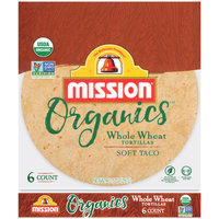 Mission Organics® Soft Taco Whole Wheat Tortillas 6 ct Bag