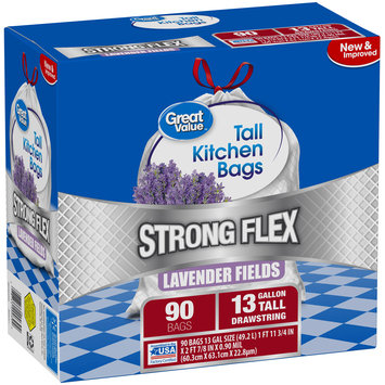 Great Value™ Strong Flex Lavender Fields 13 Gallon Drawstring Tall Kitchen Bags 90 ct Box