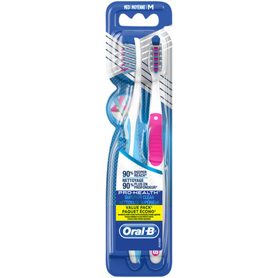 Oral-B® Pro-Health™ Superior Clean Medium Toothbrushes 2 ct Carded Pack