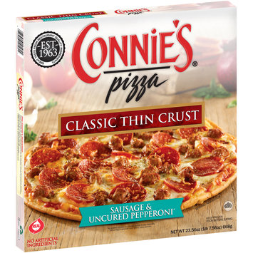 Connie's® Pizza Sausage & Uncured Pepperoni* Classic Thin Crust Pizza 22.19 oz. Box