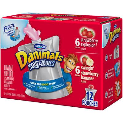 Dannon® Danimals® Lowfat Yogurt Pouches Strawberry Explosion® & Swingin' Strawberry-Banana® 3.5 oz. 12 pack