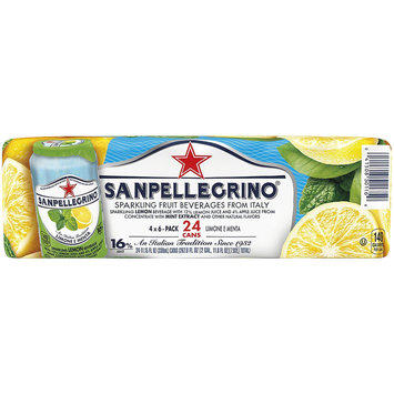 SANPELLEGRINO Sparkling Fruit Beverage, Limone e Menta/Lemon & Mint 11.15-ounce cans (Total of 24)