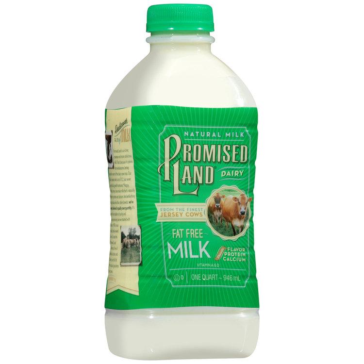 Promised Land Dairy® Fat Free Milk 1 qt. Bottle