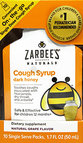 Zarbee's Naturals Children's Cough Syrup with Dark Honey On-the-Go, Natural Grape Flavor 10 ct Box