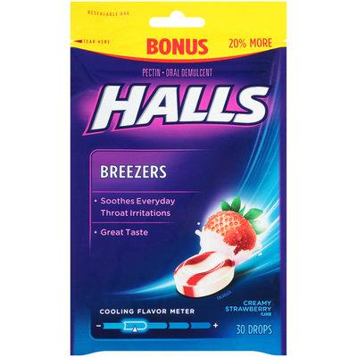 Halls Breezers Creamy Strawberry Oral Demulcent Pectin Drops 30 ct Bag