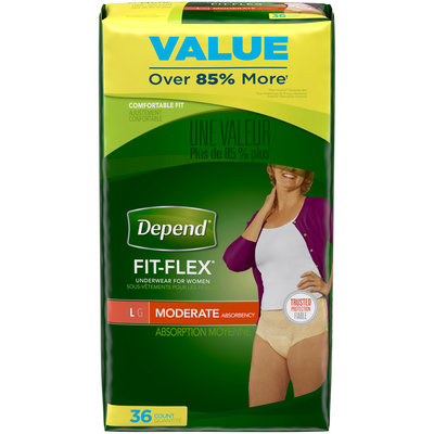 Depend Fit-Flex Incontinence Underwear for Women, Moderate Absorbency, L 36 ct Pack