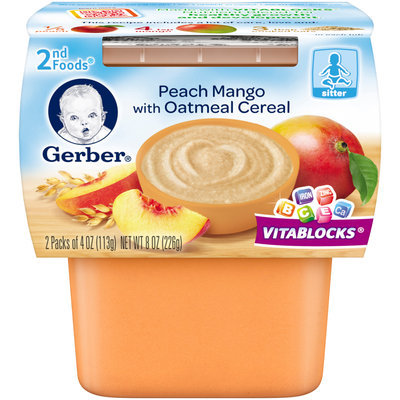 Gerber® 2nd Foods® Peach Mango with Oatmeal Cereal 2-4 oz. Packs (Pack of 8)