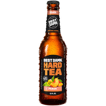 Best Damn® Peach Hard Tea 12 fl oz Glass Bottle