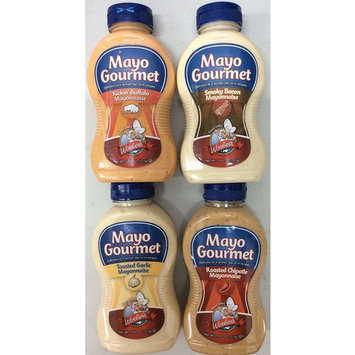 Woeber's Mayo Gourmet Variety Pack 11 Fl.Oz each - Pack of 4 Mayonnaise - (1 Smoky Bacon, 1 Roasted Chipotle, 1 Toasted Garlic, 1 Kickin' Buffalo)